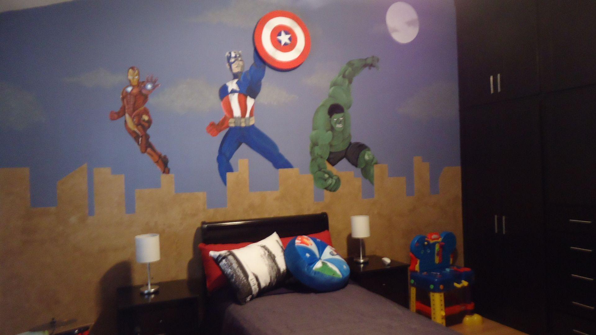 Habitaci n tem tico avengers para ni o mural pintado a for Mural para habitacion