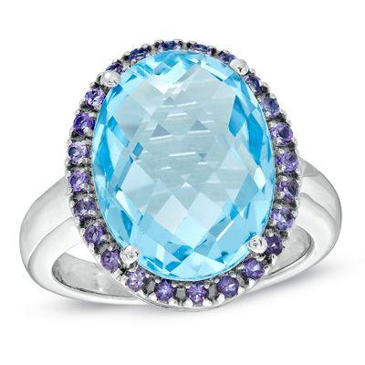 Oval Blue Topaz Amethyst Ring Pretty Rings Topaz Jewels