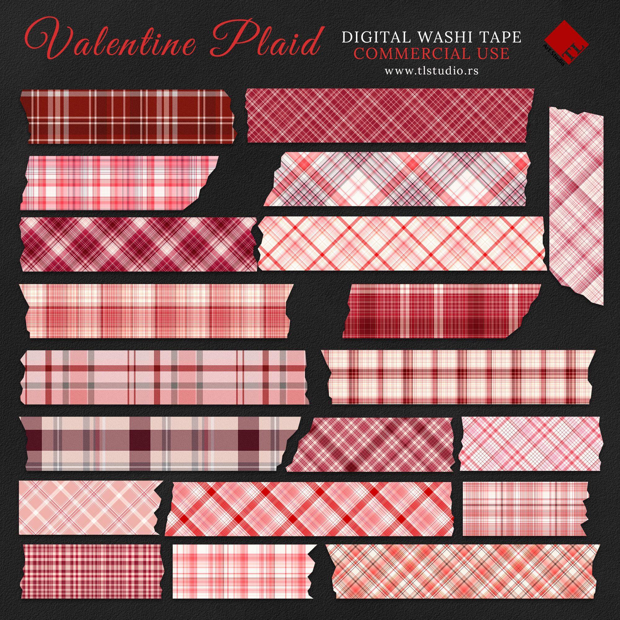 Valentine Plaid Digital Washi Tape Commercial Use Red Plaid Etsy In 2021 Washi Tape Washi Tape Planner Washi