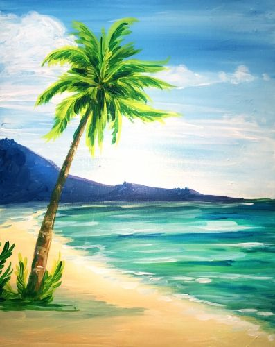 Learn To Paint At The Beach Tonight At Paint Nite Our Artists Know Exactly How To Teach Painters Of All Lev Palm Trees Painting Summer Painting Beach Painting