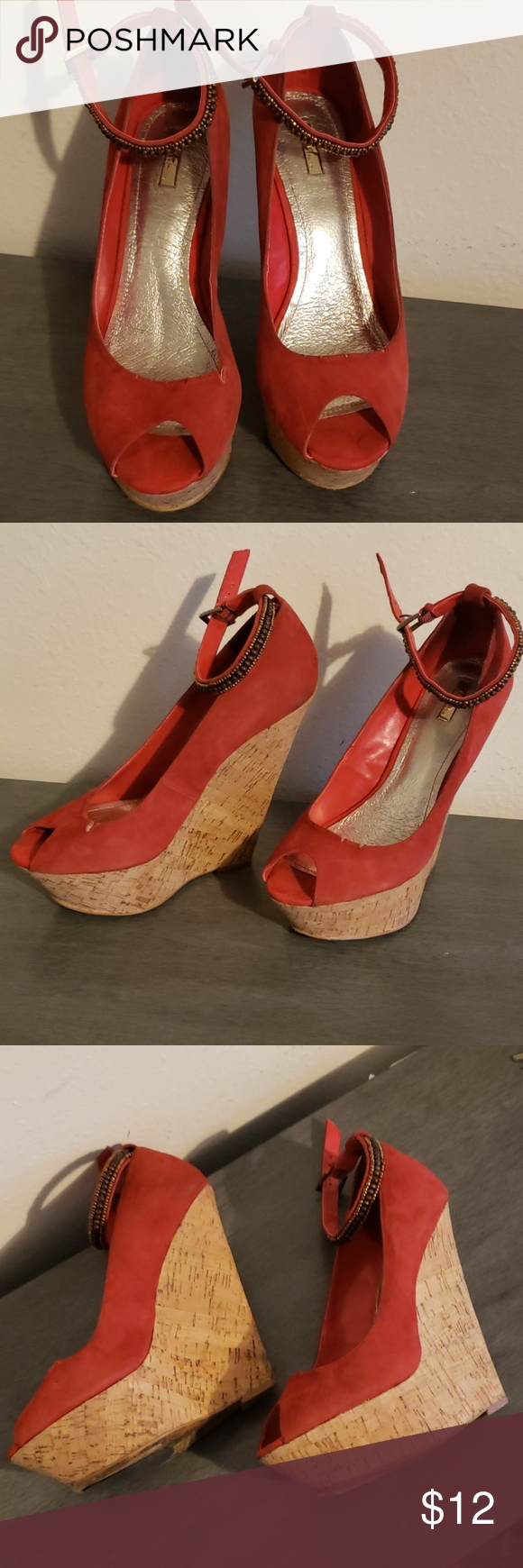 4dc69cb610 Shoes Red suede wedge open toe with ankle strap heels Wild Pair Shoes Wedges