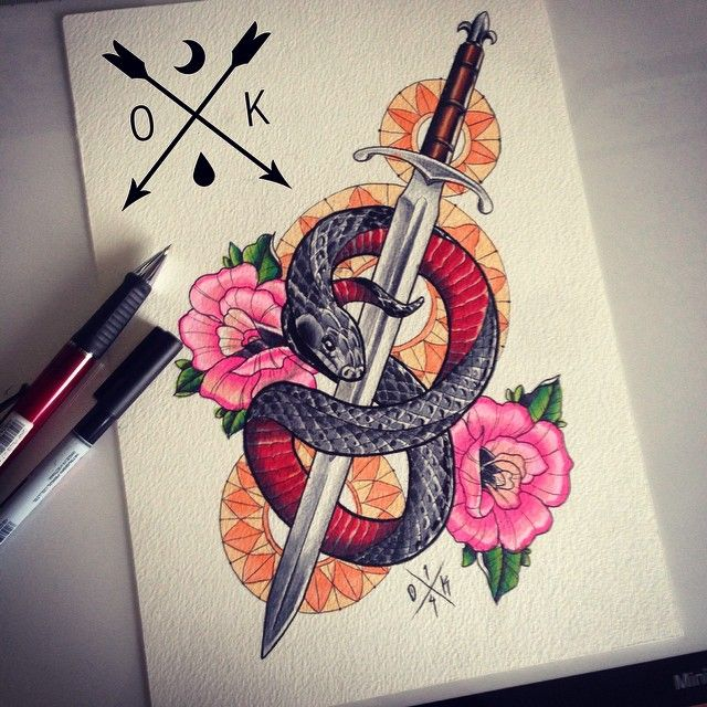 7dc59dc05 Snake and Sword #tattoo #oldschool #traditional #olliekeabledesigns # neotraditional