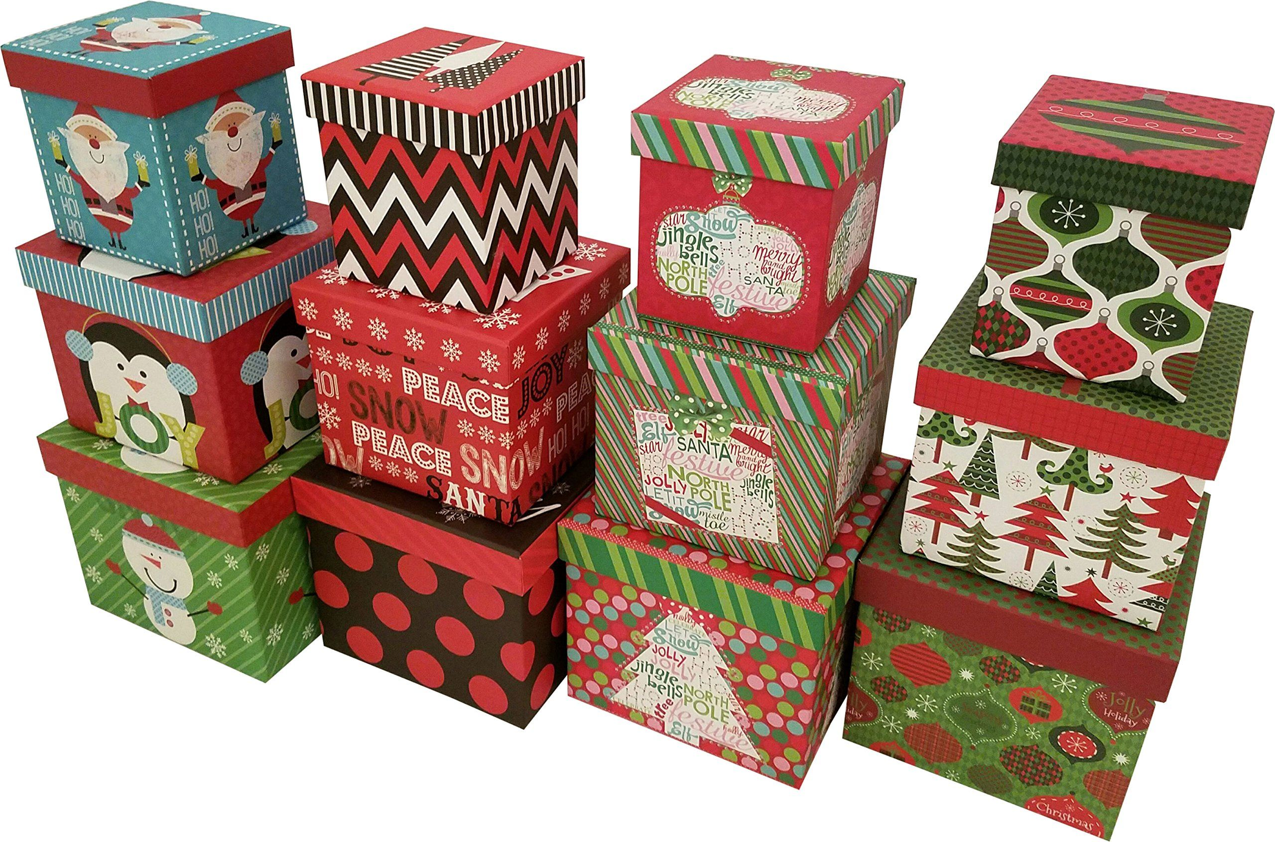 Christmas boxes 16 count nested assorted large set with