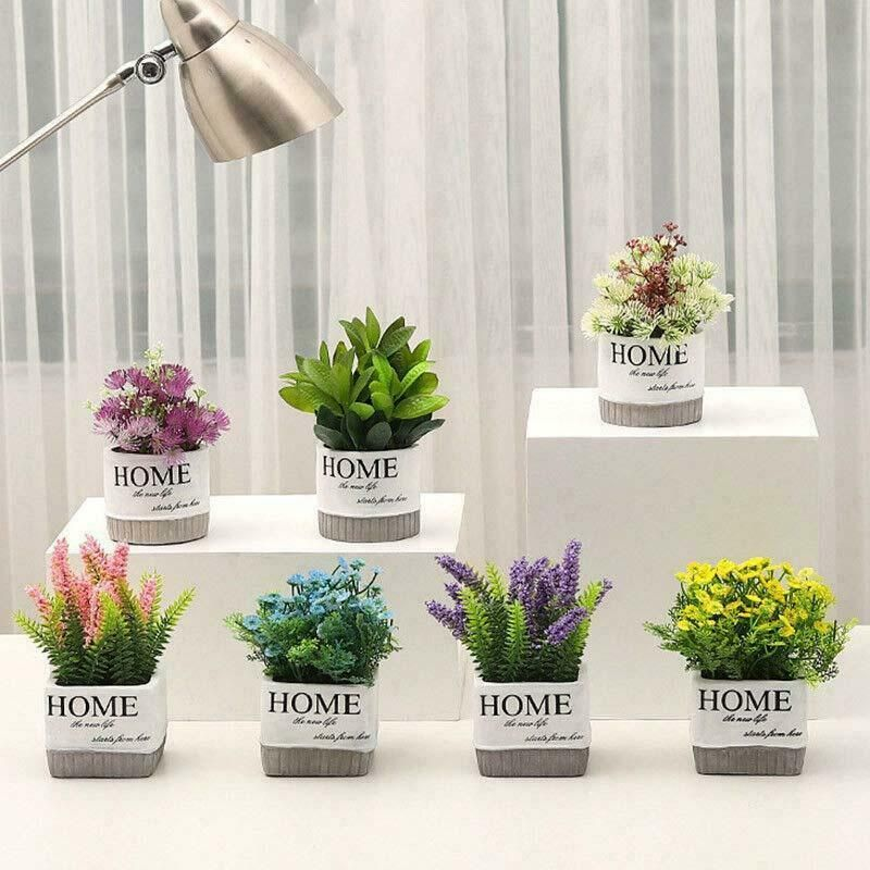 Artificial Fake Lavender Flower Potted Green Plants Bonsai Wedding Party Decor Fashion Home Garden Homedcor Floraldco Flower Pots Plants Planting Flowers