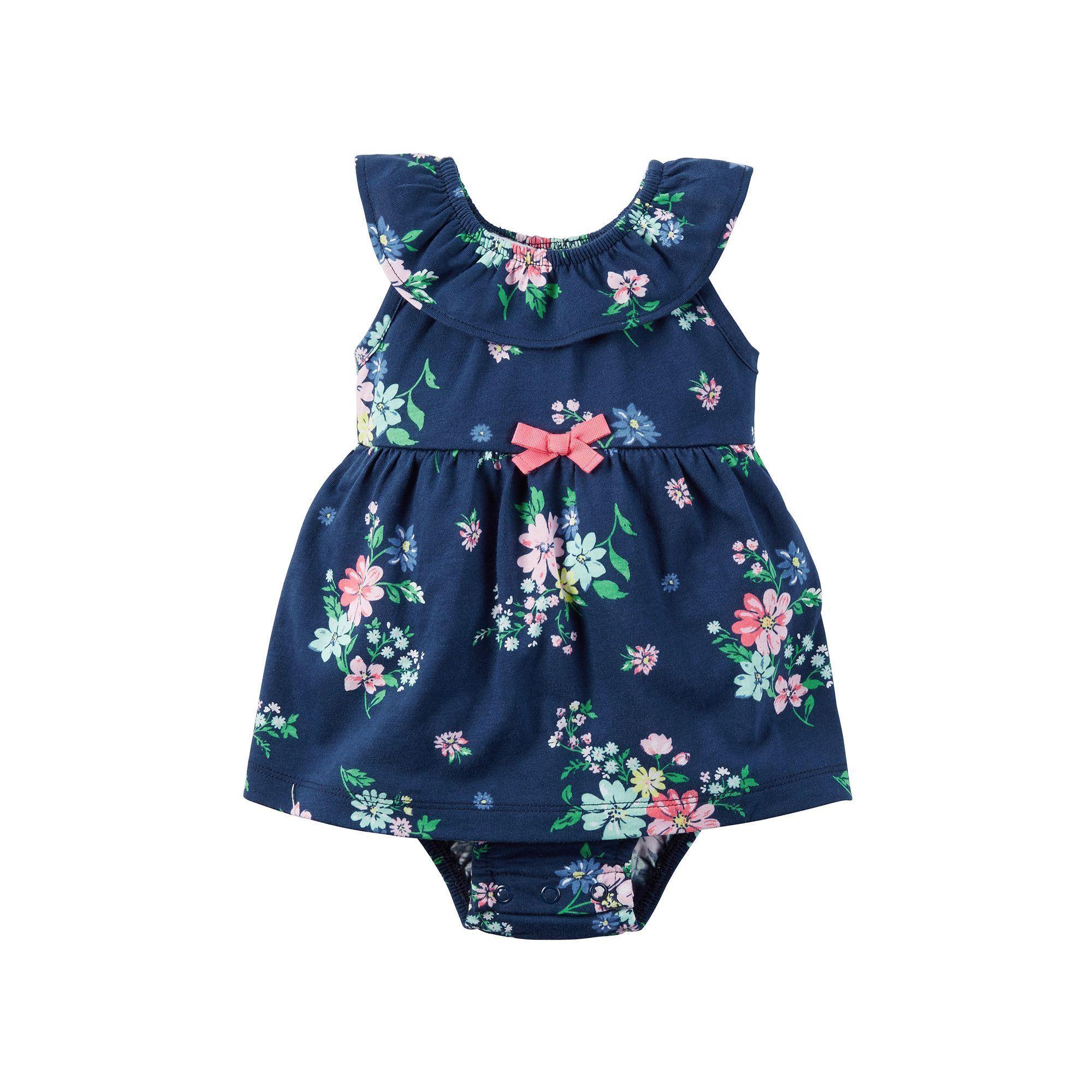 Baby Girl Carter s Floral Bodysuit Dress Size 6 Months Blue