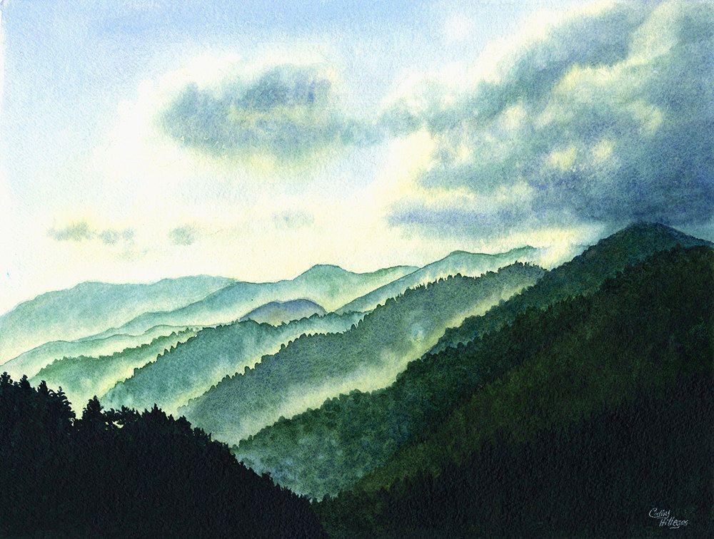 Painting Of Great Smokey Mountains Sunrise In The Smokey