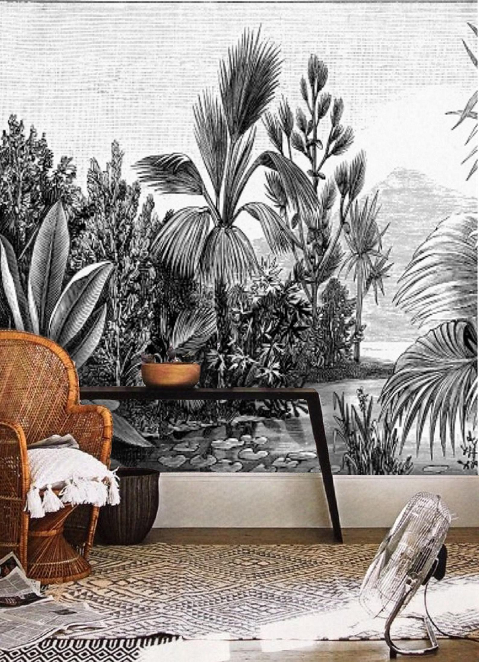 Black And White Jungle Wallpaper Rainforest Landscape Wall Etsy Jungle Wallpaper Removable Wallpaper Wall Wallpaper