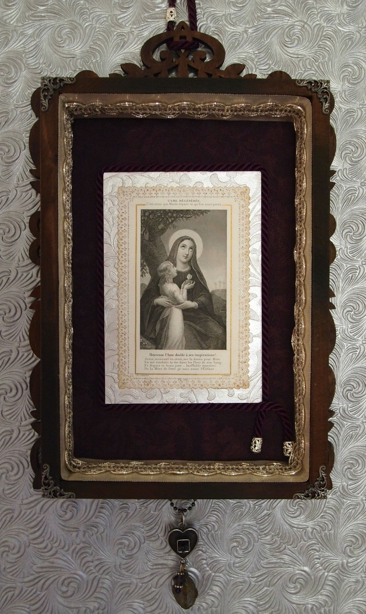 Rustic wall art blessed virgin mary antique french catholic decor
