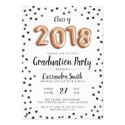 Modern Class of 2018 Balloons - Grad Invite - graduation party - graduation thank you letter