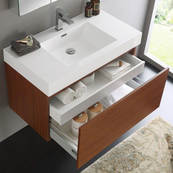 Fresca Mezzo Teak Wall Hung Modern 36 Inch Bathroom Vanity And