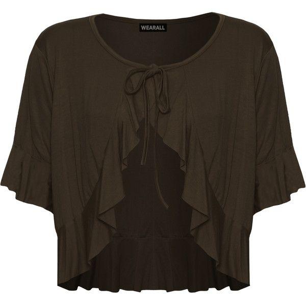 Katrina Frill Short Sleeve Tie Up Cardigan (24,345 KRW) ❤ liked ...