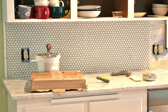 Kitchen Backsplash Penny Tile In 2020 Penny Tile Penny Backsplash
