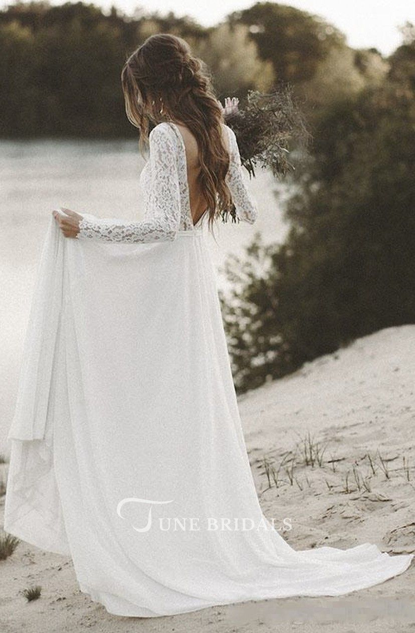 Simple V Neck A Line Long Sleeves Wedding Dress With Lace June Bridals Backless Lace Wedding Dress Wedding Dresses Wedding Dresses Lace [ 1262 x 828 Pixel ]