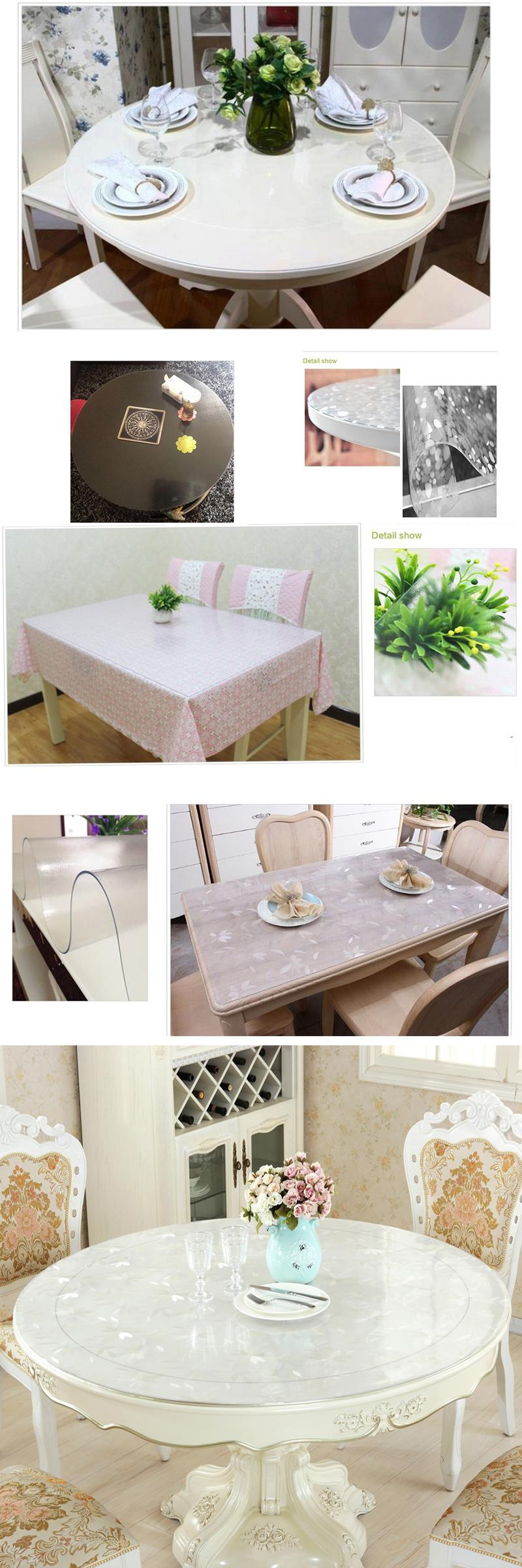 1Pcs Soft Glass Tablecloth For Table Scrub Round Mats Solid Pvc Best Dining Room Tablecloths Decorating Inspiration
