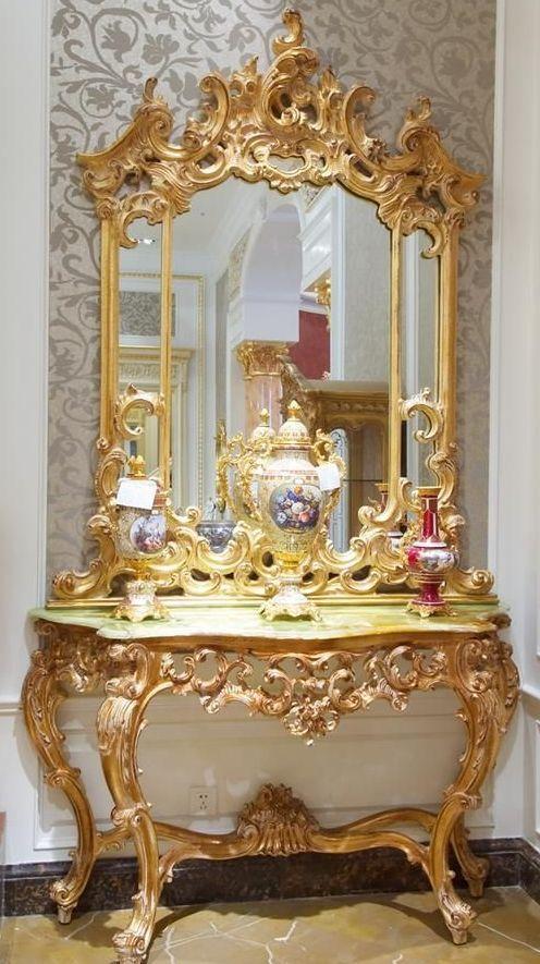 Estilo rococ dise o de consola y espejo dorados por for Muebles estilo barroco moderno