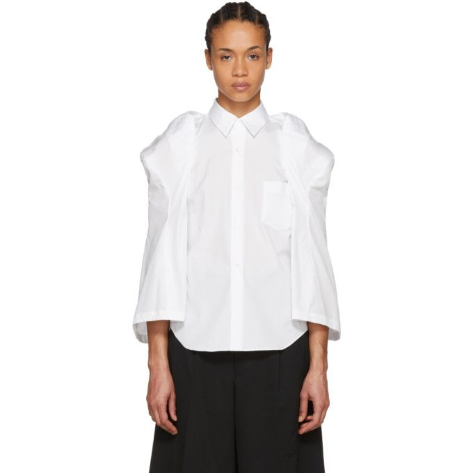 White Sculptural Sleeve Broadcloth Shirt Comme Des Gar?ons High Quality Cheap Price Pictures Cheap Online Get jh5kB