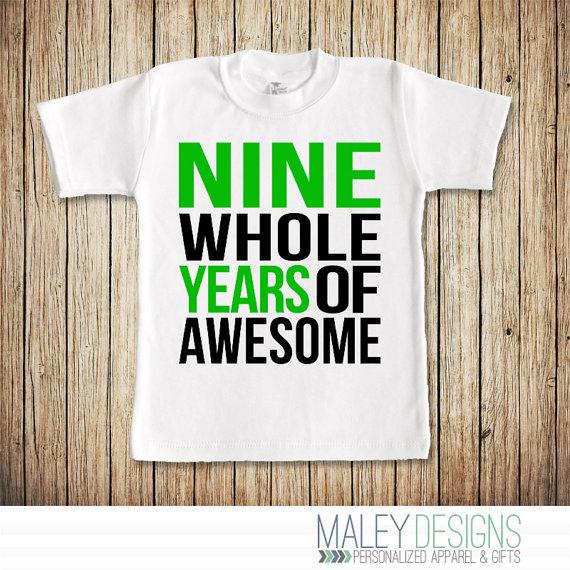 9 Year Old Boy Birthday Shirt Nine Whole Years Of Awesome Ninth Bi