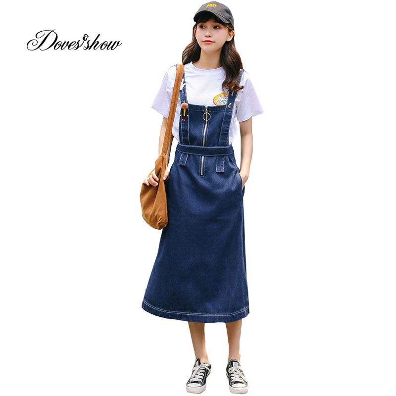 e0582bfe13918 New BF Style Washed Jeans Strap Denim Dress Women Casual Summer ...