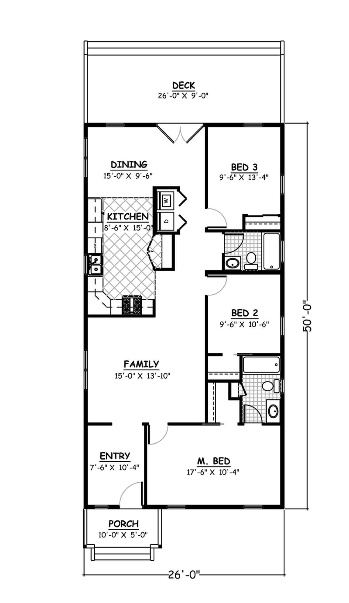 House Plan 526 00041 Narrow Lot Plan 1 300 Square Feet 3 Bedrooms 2 Bathrooms In 2021 Condo Floor Plans One Level House Plans Narrow House Plans