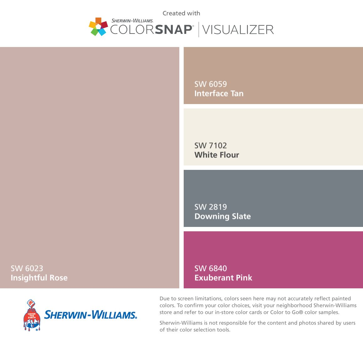 I found these colors with colorsnap visualizer for iphone for Sherwin and williams paint