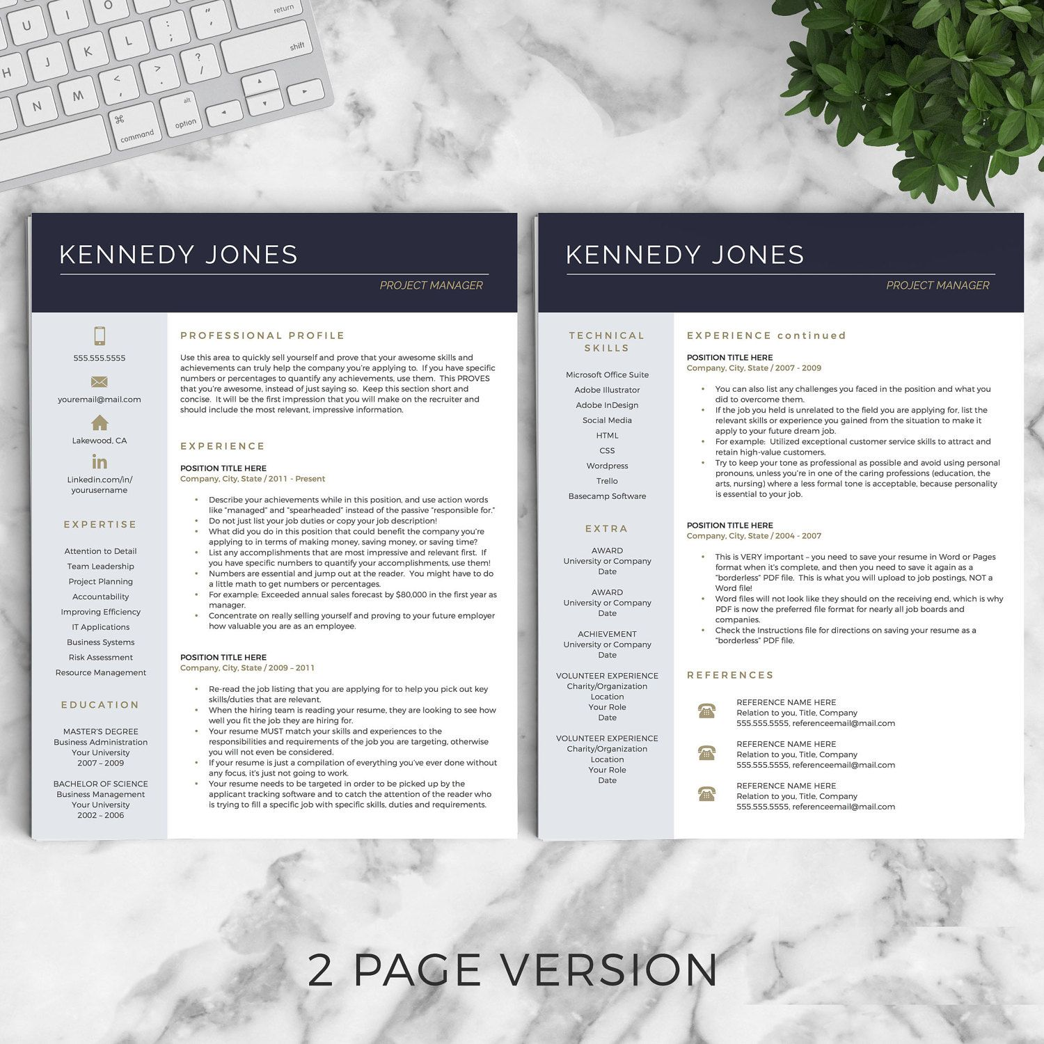 Resume Template For Mac Pages Professional Resume Template For Word & Pages The Kennedy