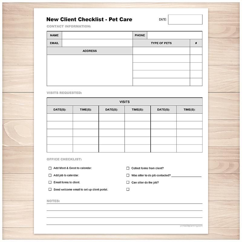 Pet Care New Client Checklist Visits List Printable At