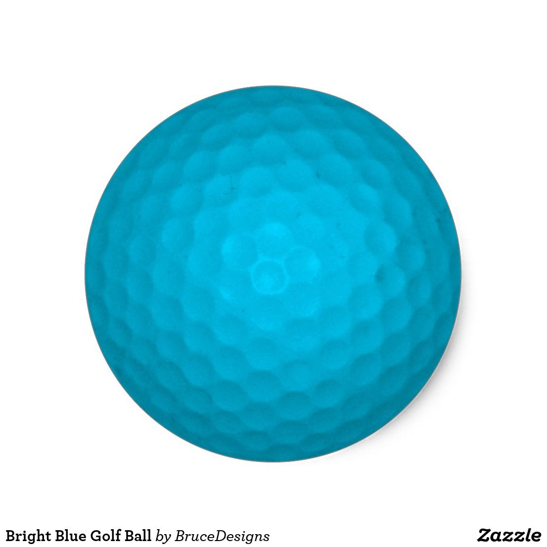 Bright blue golf ball classic round sticker