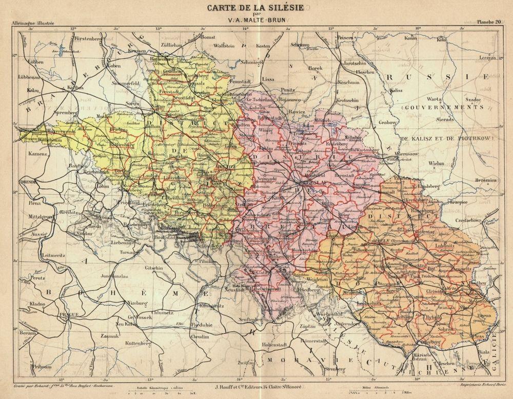 Schlesien Polen Landkarte Von Erhard Farblithographie Von 1888