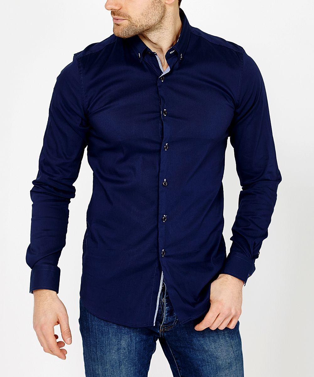 Midnight Blue Reversible Cuff Slim Fit Button Up Mens Regular