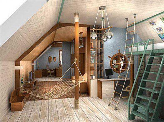 Dachzimmer  18 Marine Zimmer Interieurs für Jungen - thematische Ideen ...