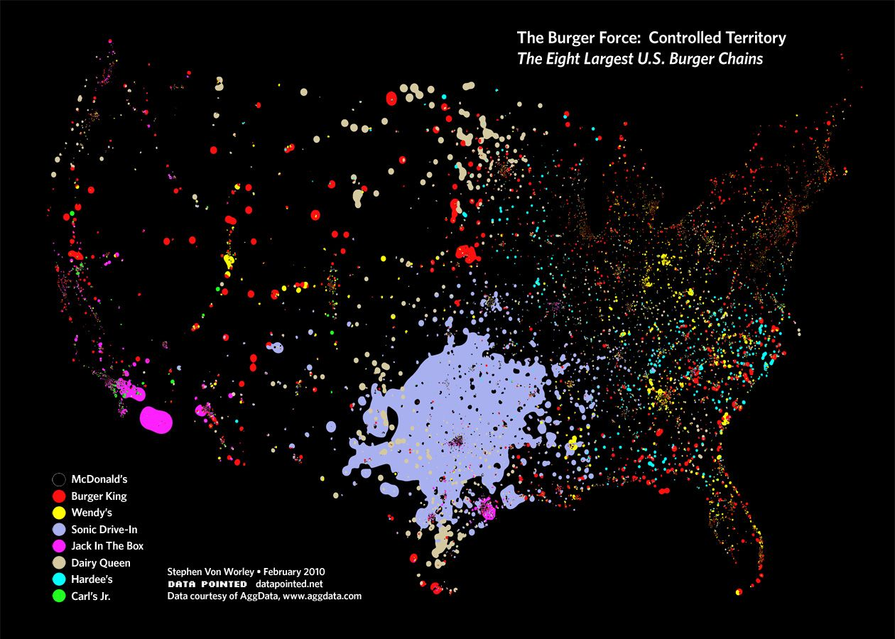 US Fast Food Market Dominators The Black Areas On The Map Are - Mcdonalds locations on us map