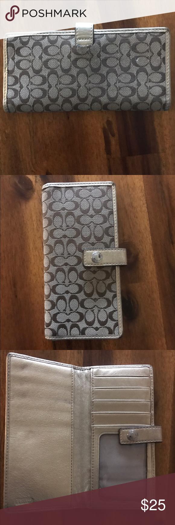 COACH wallet! Tan & Gold. COACH wallet, tan and gold monogram/trim. Very little wear. No holes. Coach Bags Wallets
