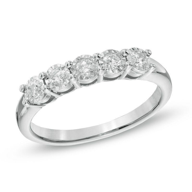 Ladies 1 4 Ct T W Diamond Five Stone Wedding Band In 10k White Gold Zales Outlet Diamond Wedding Bands White Gold Wedding Bands