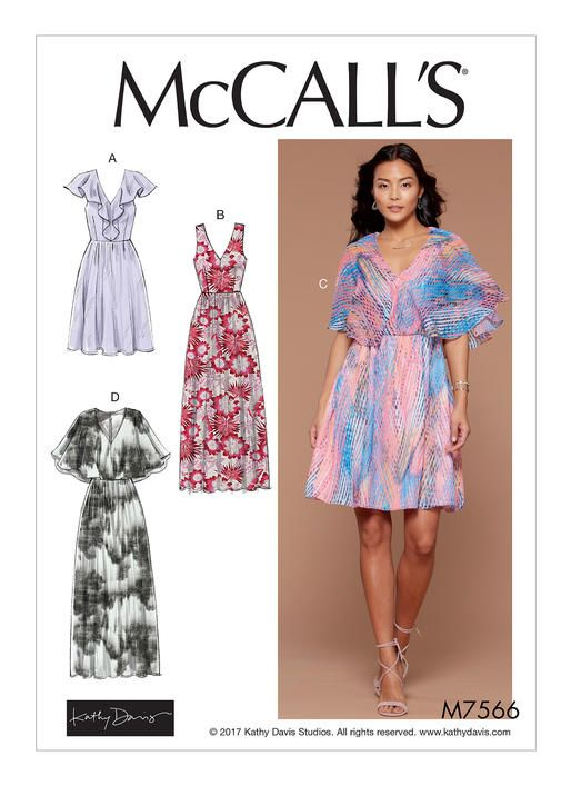 McCall\'s dress sewing pattern by Kathy David. M7566 Misses\' V-Neck ...