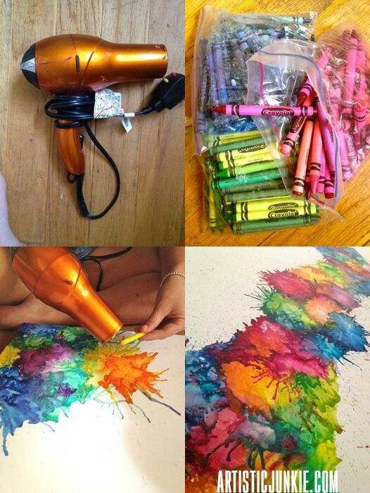 Love this technique for melted crayon art. | Kids Crafts ...