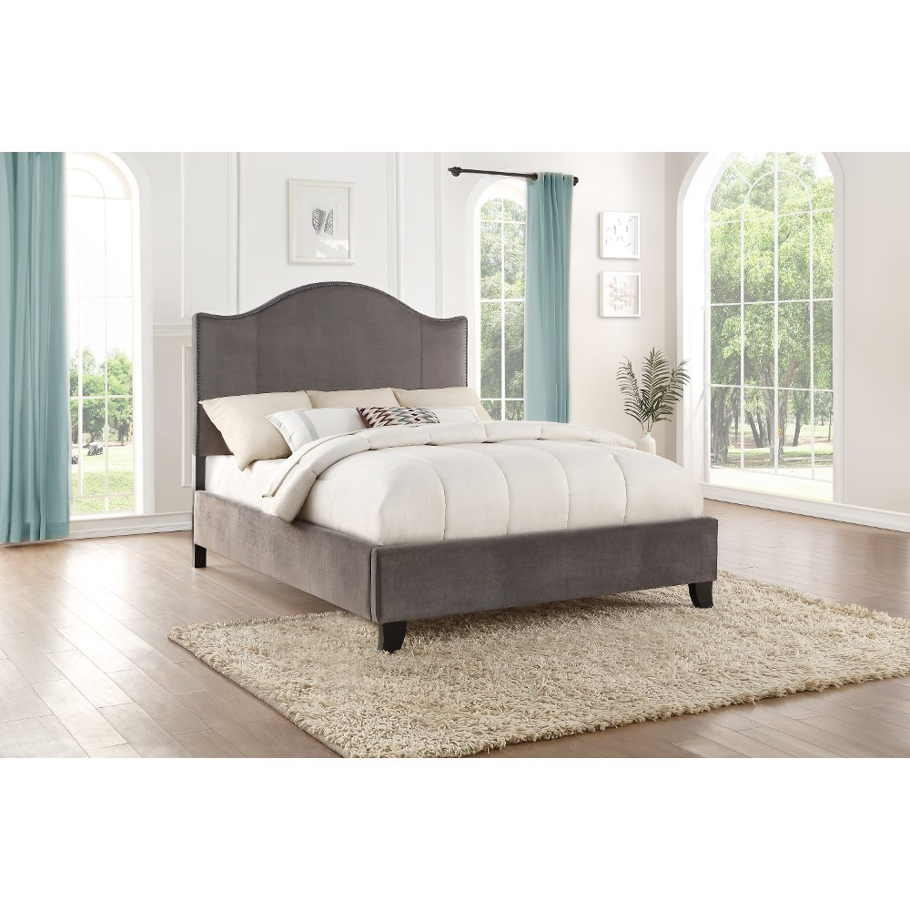 Classic Gray Queen Upholstered Bed Dalmore in 2020