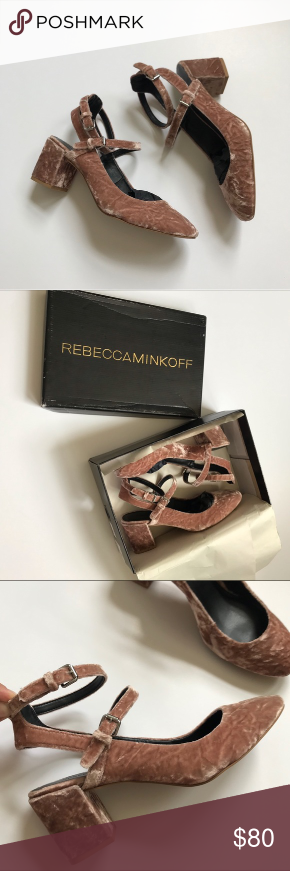 Rebecca Minkoff Brooke Crushed Velvet Block Heel 8 New in Box Rebecca Minkoff ...