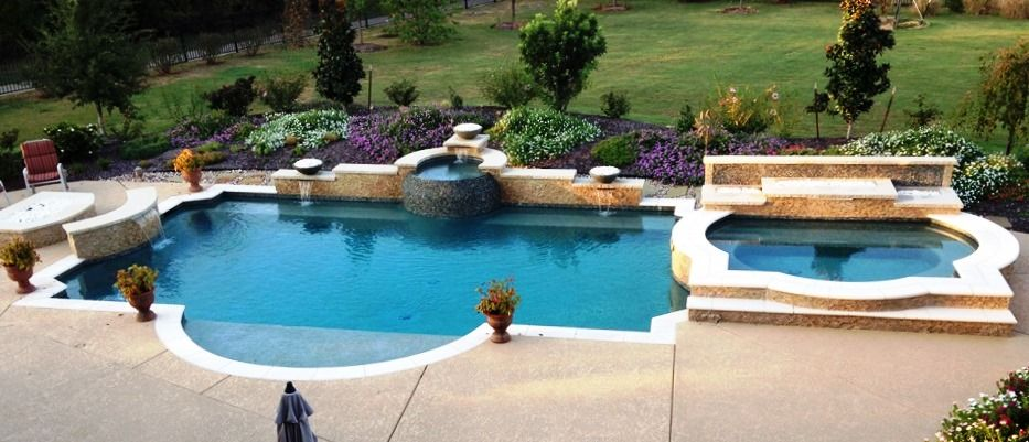 Rockwall Pool Design Dallas Photo Gallery Outdoor Living   Outdoor Swimming  Pool With Firepits