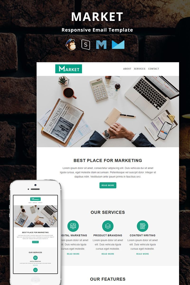 Market Corporate Responsive Email Newsletter Template 82654 Email Marketing Template Design Email Newsletter Design Email Newsletter Template