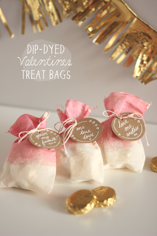 valentines dip dyed treat bags by polkadot prints for design mom - Valentine Treat Bag Ideas