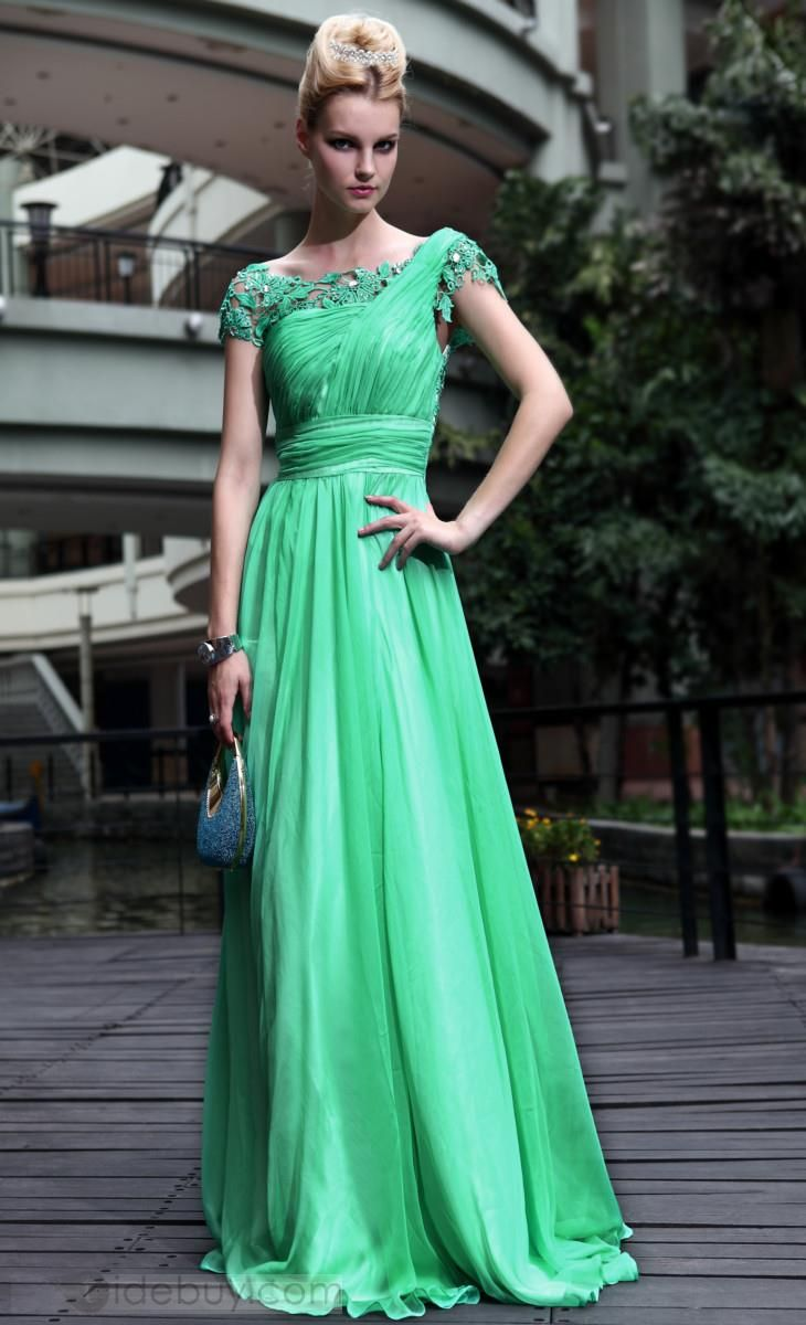 Graceful A-Line Short Sleeves Lace Ruffles Long Prom Dress | Prom ...