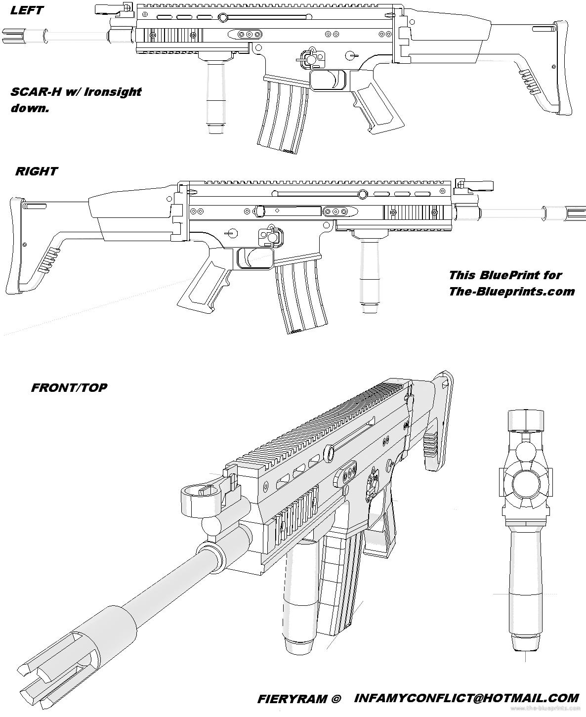 SCAR-H | Gun Blueprints | Pinterest | Guns and Weapons