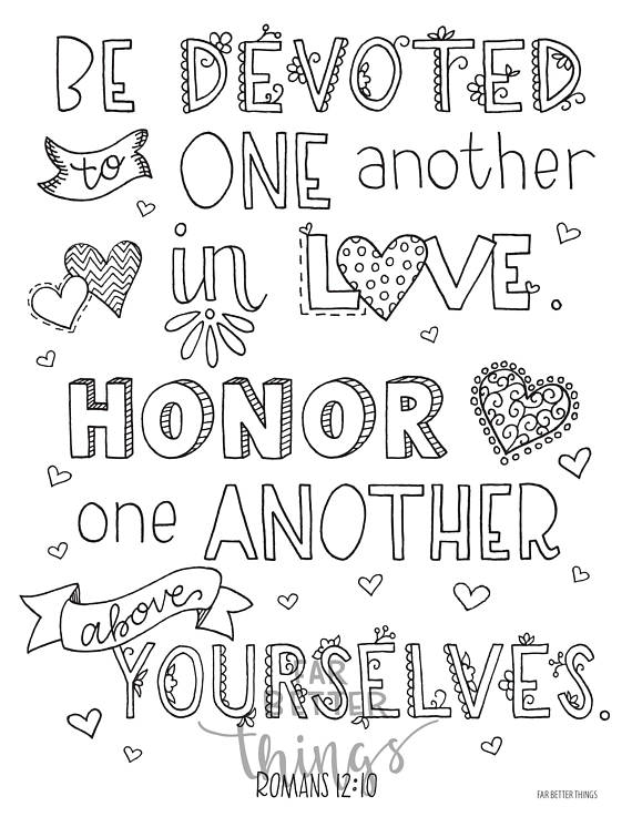 Bible Verse Coloring Page Romans 12 10 Printable Coloring Page