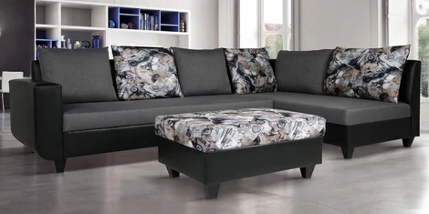 Buy Rio Lhs Section Sofa With Ottoman In Grey Black Colour By Arra Online Contemporary Lhs Sectional Sofas Sectional Sofas Furniture Pepperfry Produ Sofa Sofa Set Online Sectional Sofa