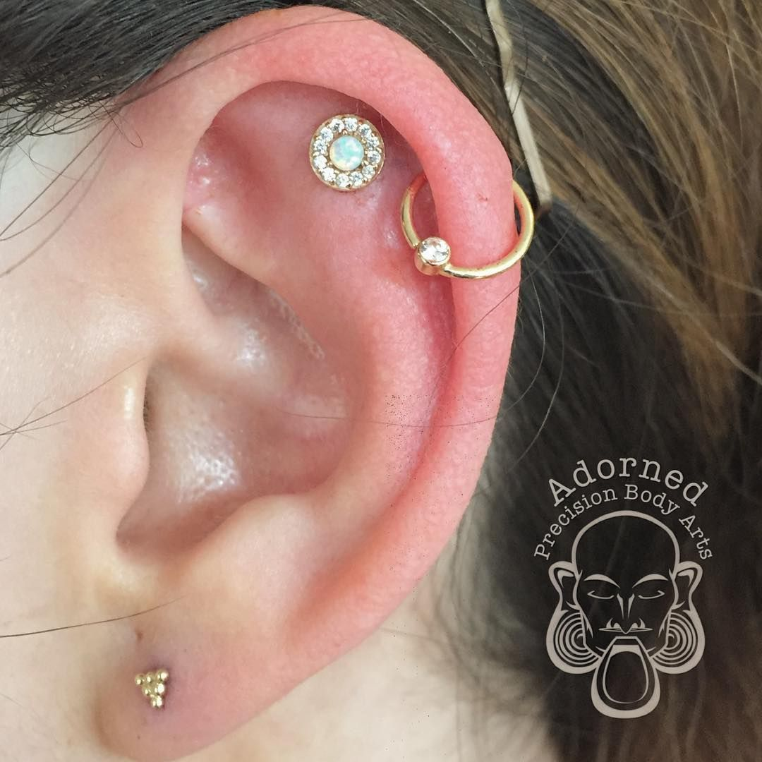 Ear piercings by rickgilmour with solid 14kt gold jewelry from