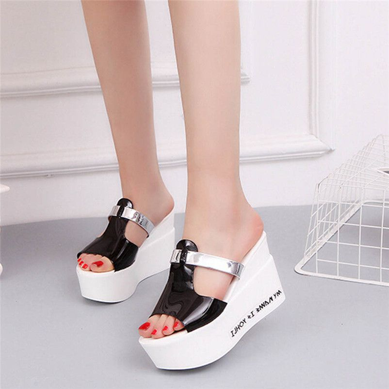Women Comfort High Heels Slippers Sandals Platform Shopping Flip Flop