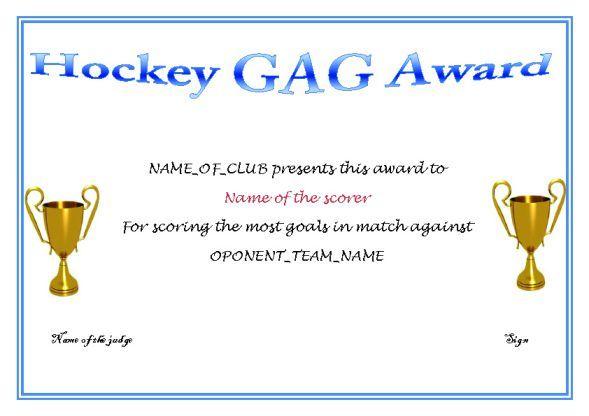 Gag Hockey Award Hockey Certificate Templates Pinterest - kids certificate templates