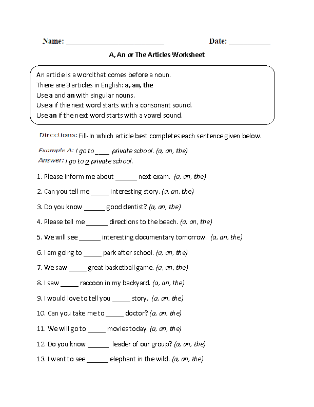 A An Or The Articles Worksheet Englishlinx Board Pinterest