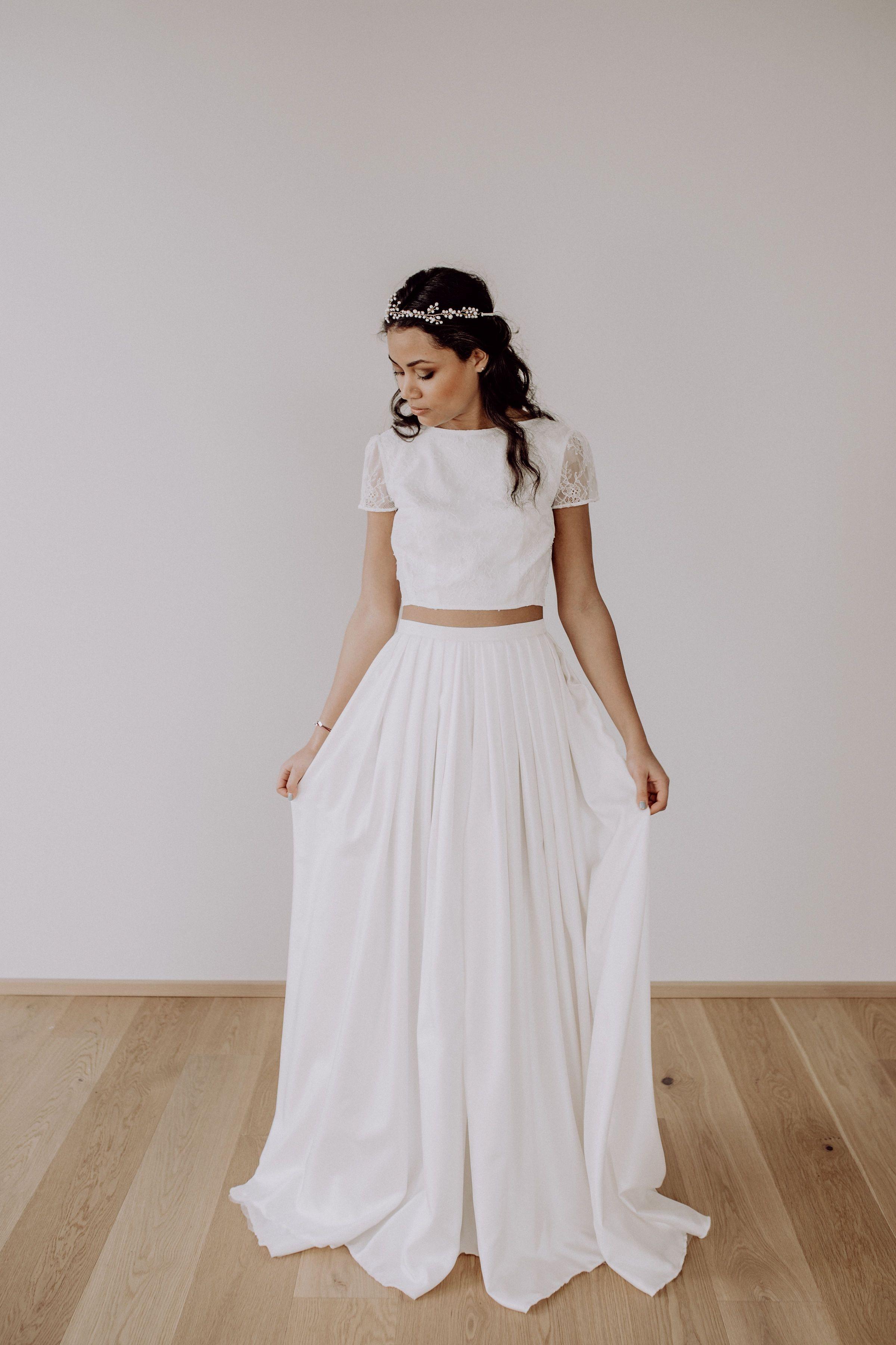 romantisches Brautkleid mit Spitze, 10-teiliges Hochzeitskleid