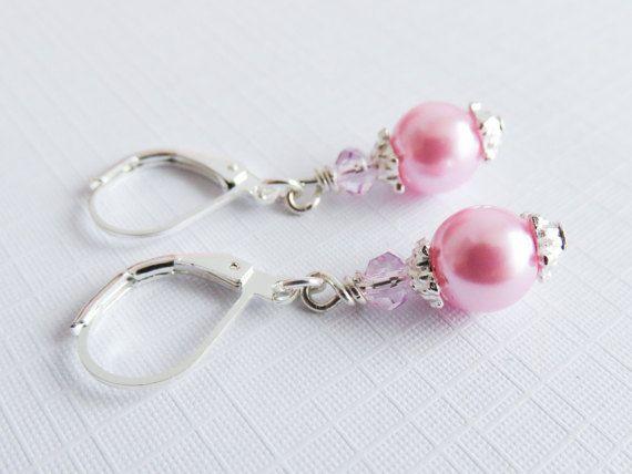 Pink pearl earrings clip on earrings flower girl gift little girl